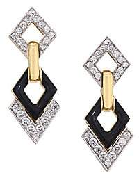 David Webb Motif Platinum, 18K Yellow Gold & Diamond Double Drop Earrings