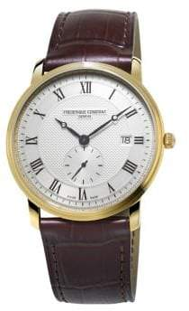 Frederique Constant Slimline Stainless Steel and Croc-Embossed Leather Strap Watch