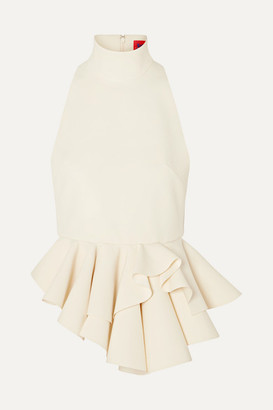 SOLACE London Ruffled Crepe Top - Cream