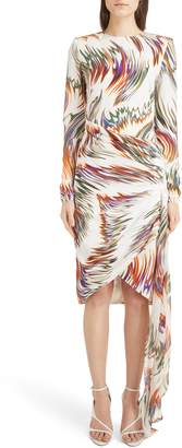 Givenchy Wave Pattern Asymmetrical Silk Marocain Dress
