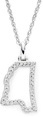 JCPenney FINE JEWELRY 1/10 CT. T.W. Diamond Sterling Silver Mississippi State Pendant Necklace