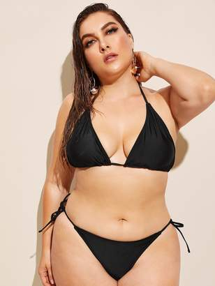 Shein Plus Triangle Halter Top With Tie Side Bikini