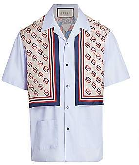 2c8b57a55ac Gucci Men s Oxford Cotton   Silk Bowling Shirt