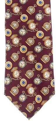 Gucci Pocket Watch Print Silk Tie