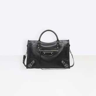 Balenciaga Medium sized goatskin hand carry and shoulder bag with metallic edge hardware