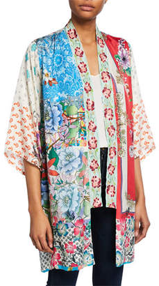 Johnny Was Kukui Multi-Patterned Silk Georgette Kimono