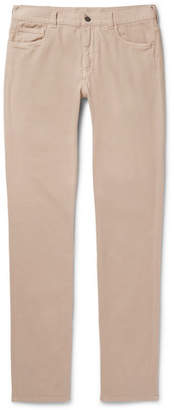 Canali Stretch-cotton Twill Trousers - Beige