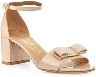 Salvatore Ferragamo Gavina Bow Patent City Sandal, Bisque