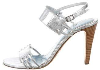 Lambertson Truex Metallic Embossed Leather Heels