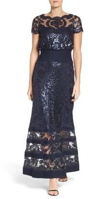 Women's Tadashi Shoji Sequin Lace Blouson Gown $508 thestylecure.com