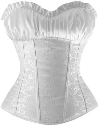 Charmian Women's Renaissance Bustier Wedding Bridal Top Lace Up Overbust Corset