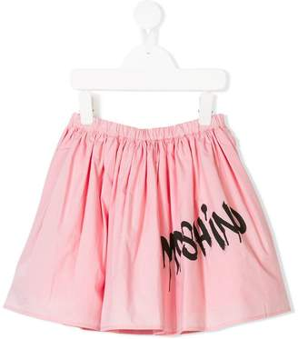 Moschino Kids spray paint logo print skirt