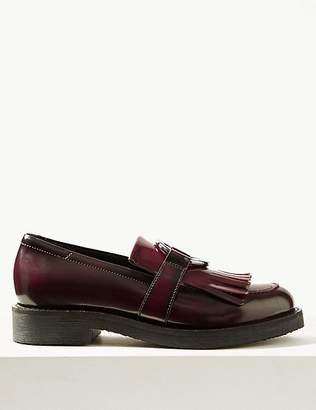 Marks and Spencer Leather Block Heel Ring Detail Loafers