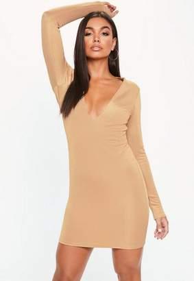 Missguided Camel Bandage Plunge Mini Dress, Camel