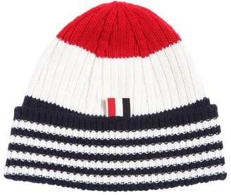Thom Browne Cashmere Wide Rib Knit Beanie Hat