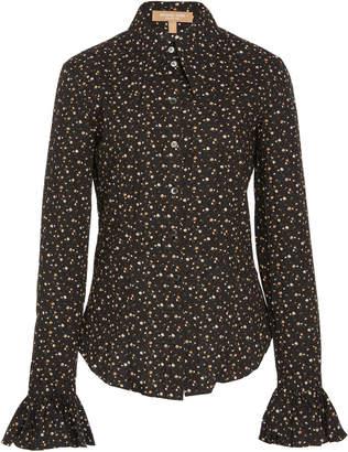 Michael Kors Crushed Ruffle Cuff Cotton Shirt