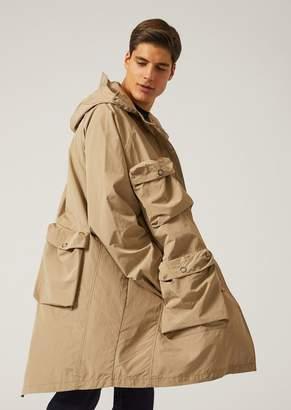 Emporio Armani Oversize Pea Coat In Technical Fabric