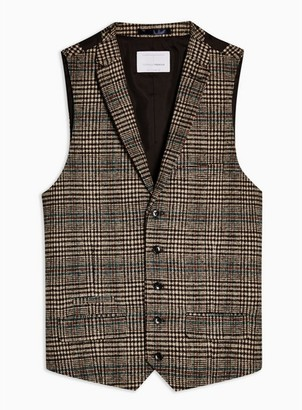 Topman Mens Heritage Brown Check Skinny Fit Suit Vest