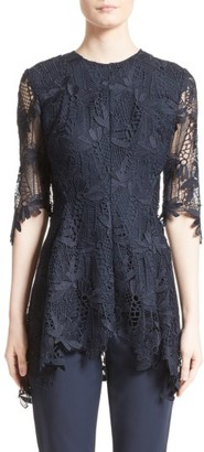 Women's Lela Rose Elbow Sleeve Lace Top $995 thestylecure.com