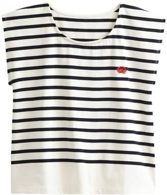 d9a4bdec La Redoute COLLECTIONS Cotton Breton Stripe Crab Embroidery T-Shirt
