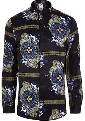River Island Mens Black baroque leopard print long sleeve shirt
