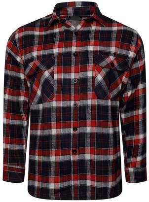 Rimi Hanger Men Long Sleeve Flannel Brushed Checked Shirt Red White
