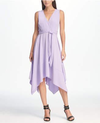 DKNY V-Neck Tie Waist Handkerchief Hem Midi Dress
