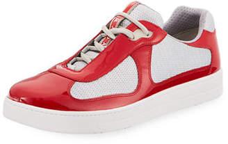 Prada Men's Vernice Low-Top Bike Sneakers