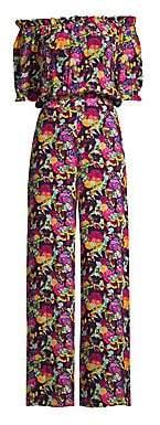 Saloni Women's Juli Floral Off-The-Shoulder Silk Jumpsuit