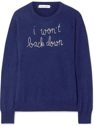 Lingua Franca - I Won't Back Down Embroidered Cashmere Sweater - Royal blue