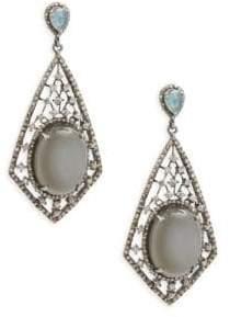 Grey Moonstone, Black Spinel & Sterling Silver Earrings