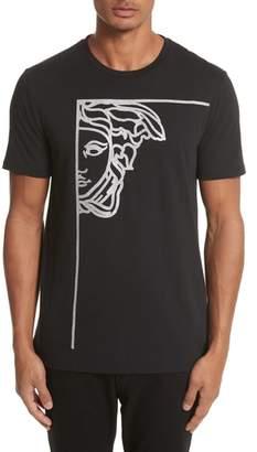 Versace Glitter Stamp Medusa Graphic T-Shirt