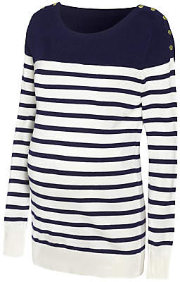 Séraphine Tilly Stripe Knit Maternity Jumper, Navy/White