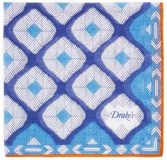 Drakes Drake's Abstract Diamond Print Pocket Square