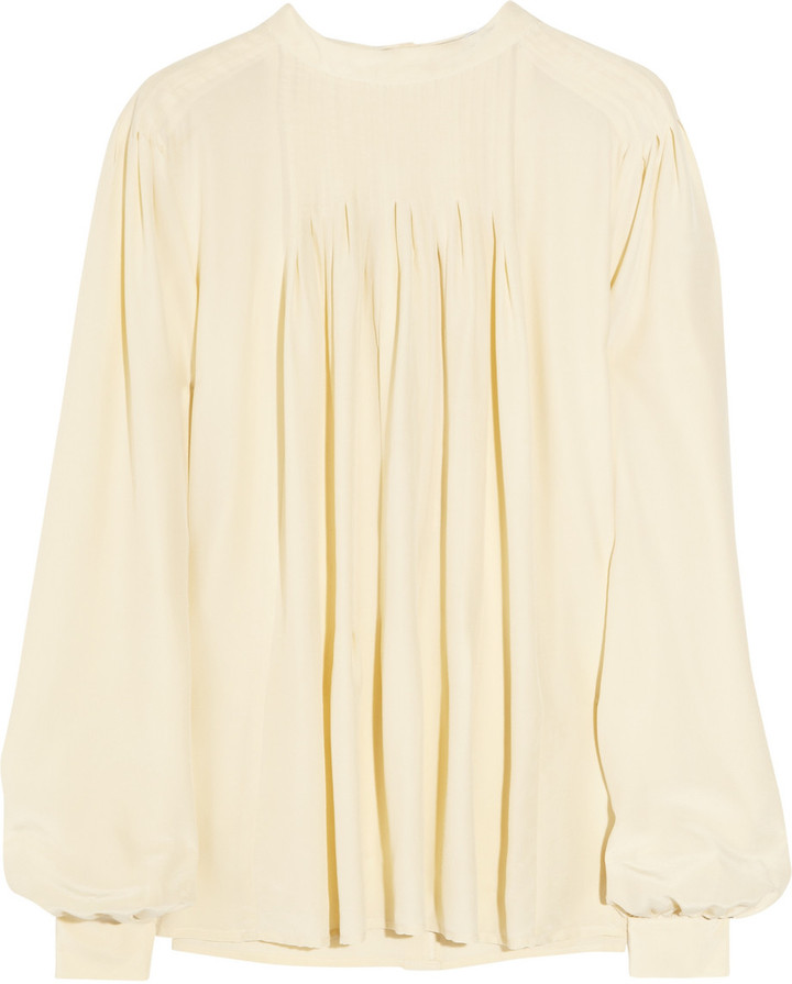 See by Chloé Pleated hammered-silk blouse