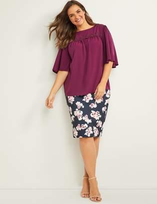ad2c93d07c Lane Bryant Floral Scuba Midi Pencil Skirt