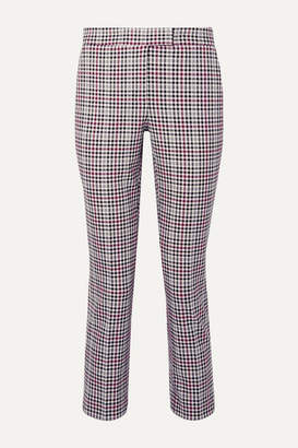MICHAEL Michael Kors Cropped Checked Stretch-cady Slim-fit Pants - Plum