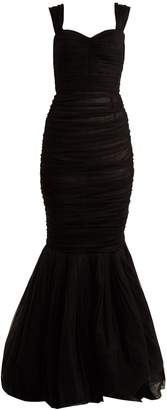 Dolce & Gabbana Sweetheart-neck ruched silk-tulle gown