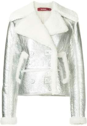 Sies Marjan metallic faux shearling biker jacket