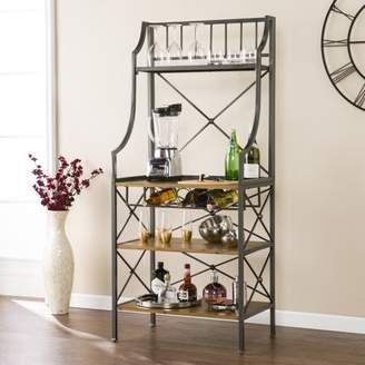 Southern Enterprises Servione Bakers Rack, Modern Farmhouse Style, Antique Gray w/ Dark Pine