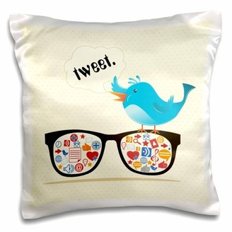 Icons 3dRose Geek Social Media Sunglasses WIth and Twitter Bird, Pillow Case, 16 by 16-inch