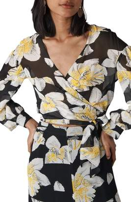 Whistles Rika Floral Print Silk Wrap Top