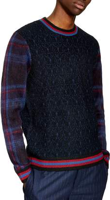 Topman Tartan Sleeve Boucle Sweater