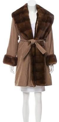 Jean Louis Scherrer Jean-Louis Scherrer Mink Fur Knee-Length Coat