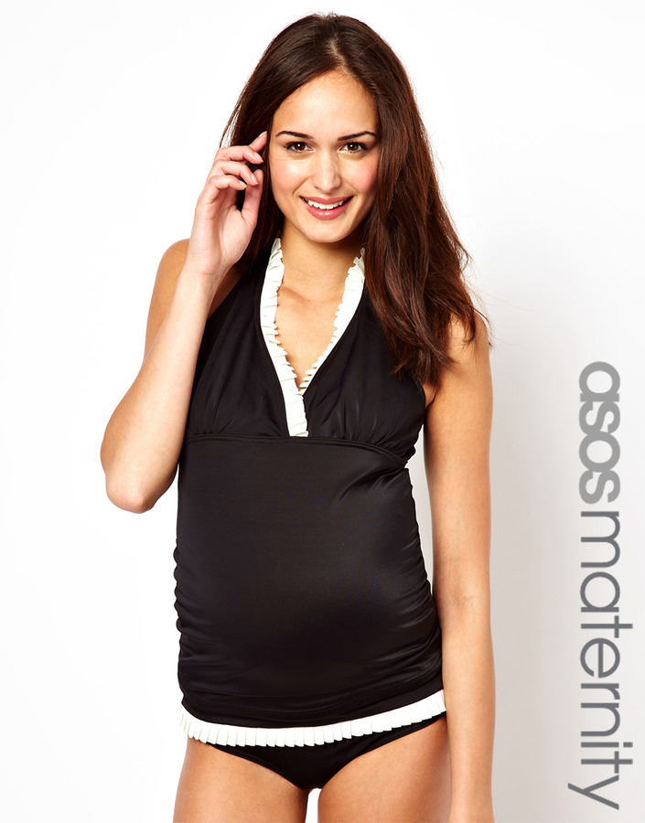 Asos Exclusive Tankini Top with Pleated Neck