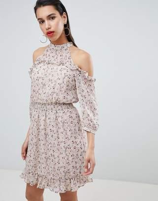 Vila cold shoulder ruffle mini dress in pink