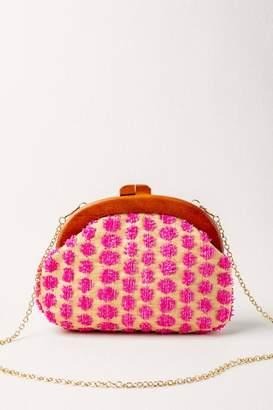 francesca's Sheena Wood Handle Clutch - Pink