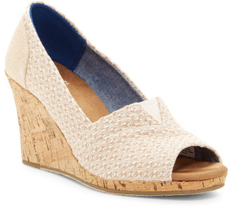 TOMS Natural Woven Triangle Cork Wedge Sandal $69 thestylecure.com