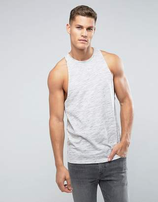 Asos DESIGN Sleeveless T-Shirt In Inject Fabric With Racer Back