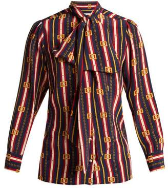 Gucci Chain Print Silk Shirt - Womens - Blue Multi